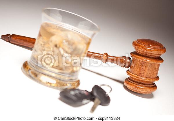 Gavel, Alcoholic Drink & Car Keys - csp3113324