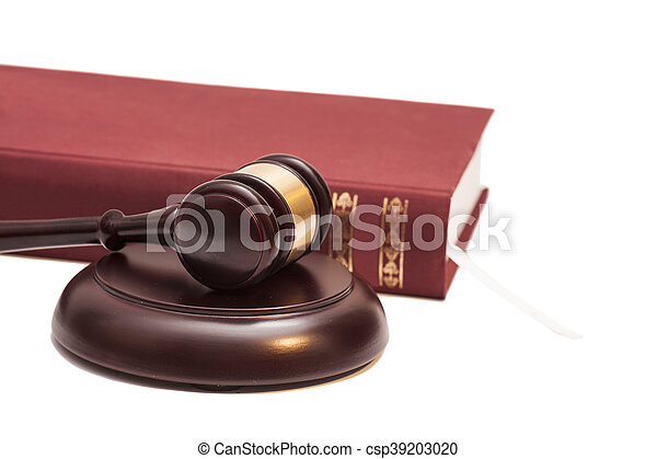 Gavel and book on white background - csp39203020