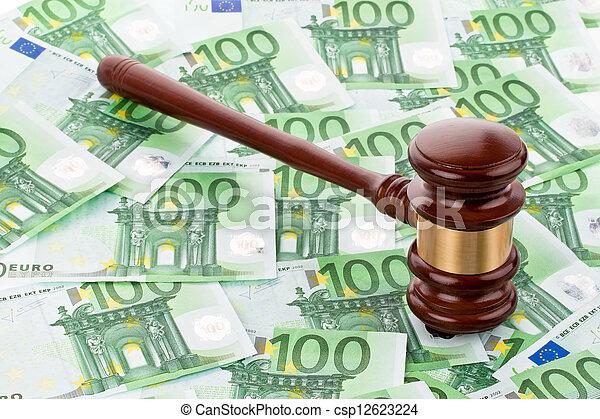 gavel and euro banknotes - csp12623224
