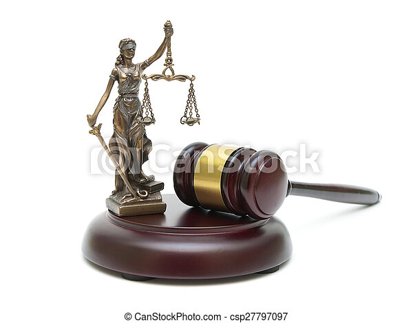 gavel and the statue of justice on a white background - csp27797097