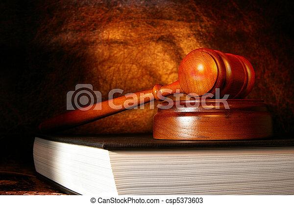 gavel, bog, lovlig, lov - csp5373603