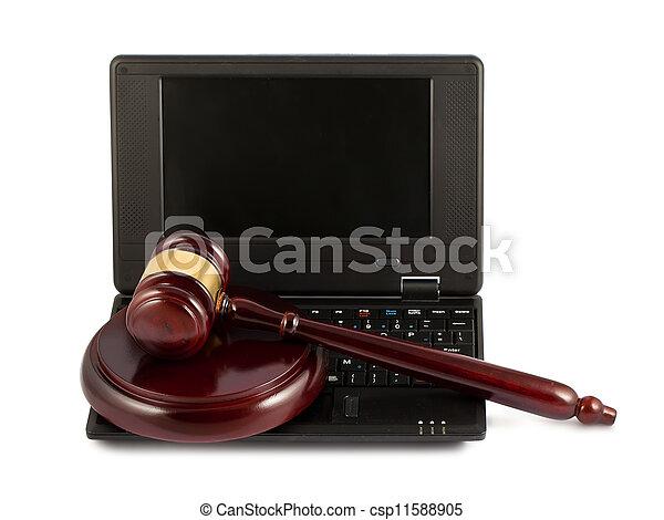 gavel bois, clavier portable - csp11588905