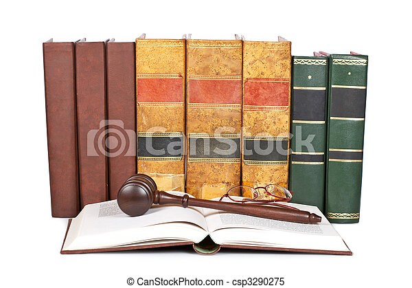 gavel bois, livres loi - csp3290275