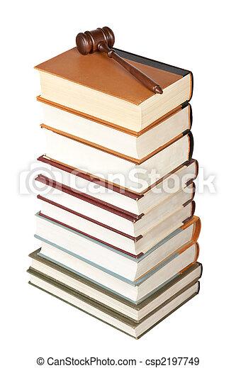 gavel bois, livres loi - csp2197749
