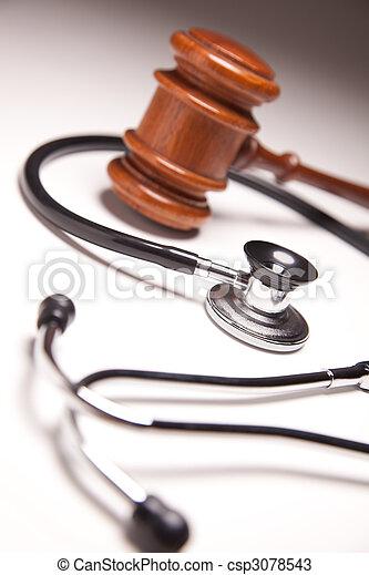 gavel, gradated, stethoscope, achtergrond - csp3078543
