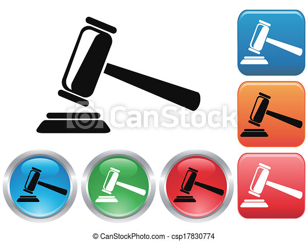 gavel, knoop, set, iconen - csp17830774