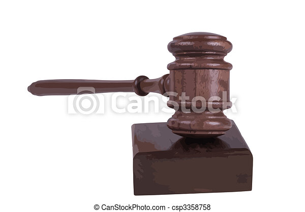 gavel on white background - csp3358758