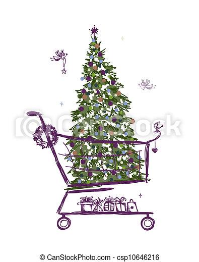 gaver, træ, indkøb, jul, cart - csp10646216