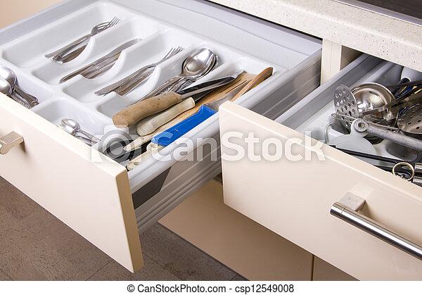 gaveta, organizado, cozinha - csp12549008