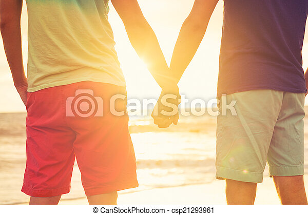 Gay couple watching sunset - csp21293961