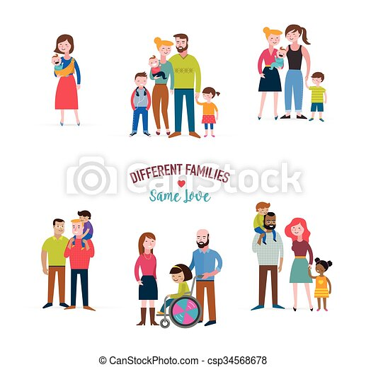 gay family, different kind of families, special needs children, blended coulpe  - csp34568678