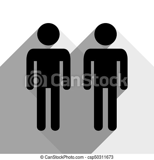 Gay family sign. Vector. Black icon with two flat gray shadows on white background. - csp50311673