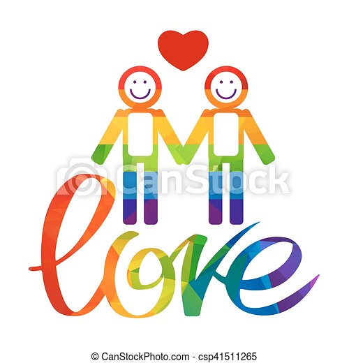 gay couple and rainbow hand drawn letters isolated on white clip rh canstockphoto com clipart gay marriage gay wedding clipart free