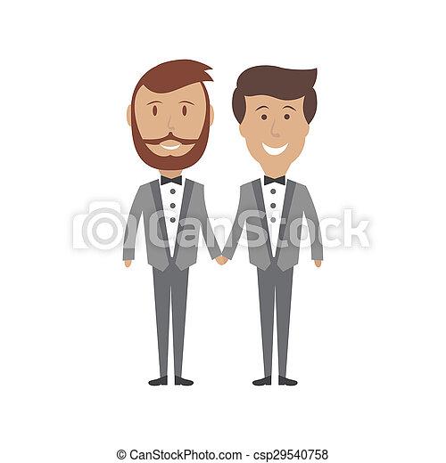 Gay male couple wedding card, vector illustration  - csp29540758