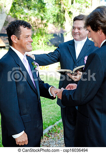 Gay Marriage Ceremony - Rings - csp16036494