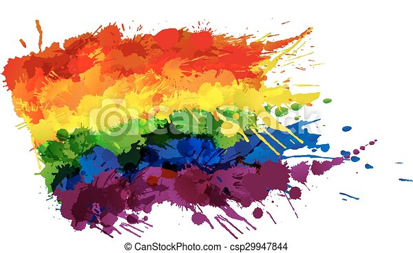 Gay or LGBT flag made of colorful splashes - csp29947844
