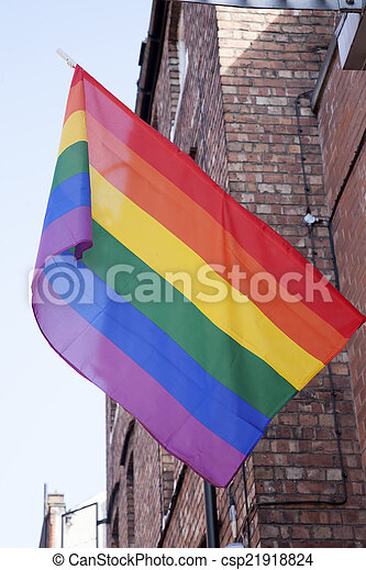 Gay Pride Flag, Canal Street, Manchester - csp21918824