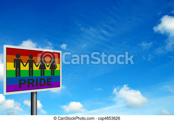 'Gay Pride' - photo realistic sign, space for your text - csp4853626