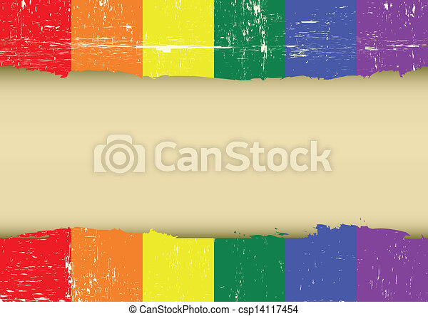 Gay rainbow scratched flag - csp14117454