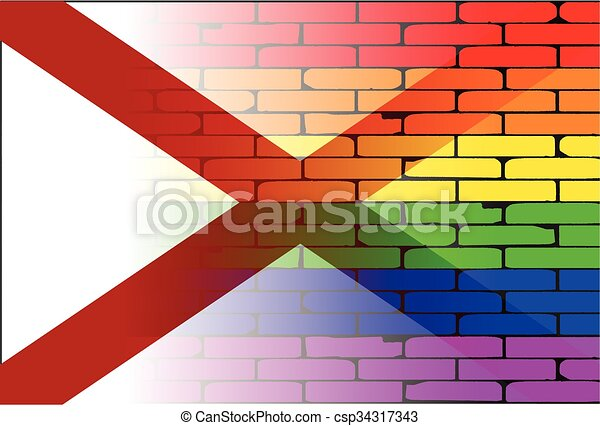 Gay Rainbow Wall Alabama Flag - csp34317343