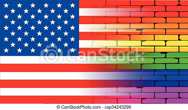 Gay Rainbow Wall American Flag - csp34243299