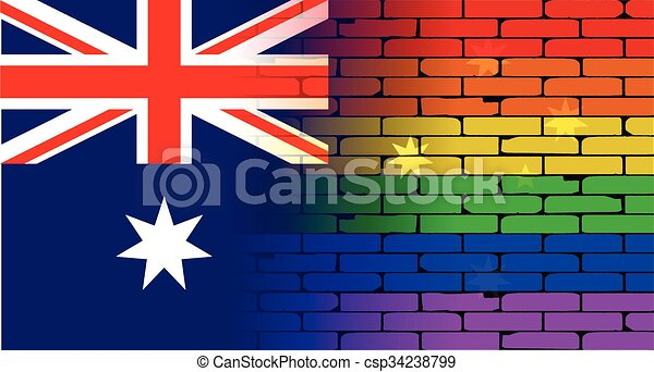 Gay Rainbow Wall Australian Flag - csp34238799