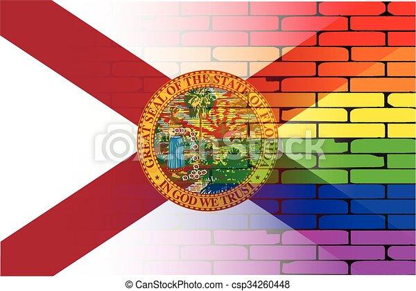 Gay Rainbow Wall Florida Flag - csp34260448