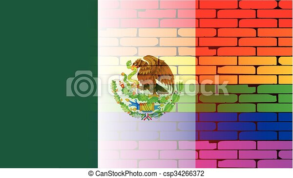 Gay Rainbow Wall Mexico Flag - csp34266372