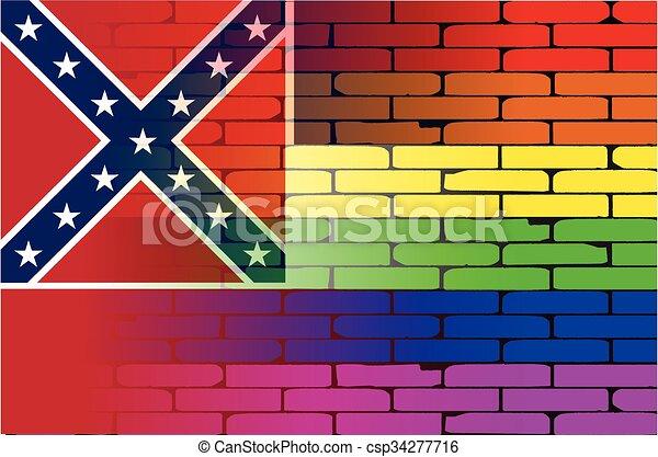 Gay Rainbow Wall Mississippi Flag - csp34277716