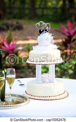 Gay Wedding Cake in Garden - csp15052476