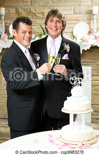 Gay Wedding Champagne Toast Gay Couple Giving Champagne Toast At
