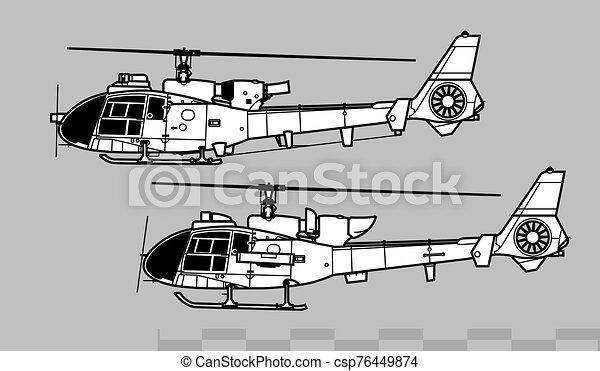 gazella, 341, áttekintés, vektor, 340, önvédelmi fegyverek, 342., aerospatiale, rajz - csp76449874