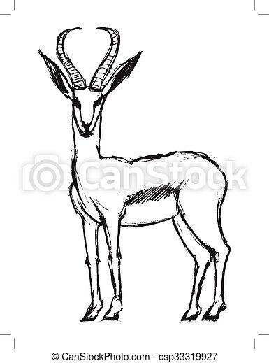 Gazelle, illustration of wildlife, african, safari, zoo ...