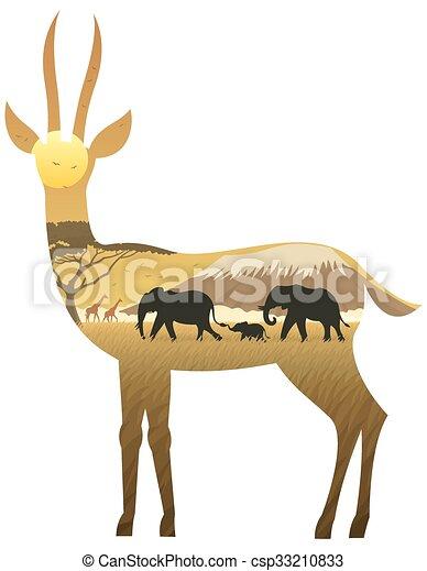 Gazelle Landscape - csp33210833