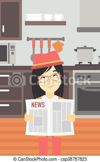 Gazeta Kobieta Czytanie Wektor Illustration