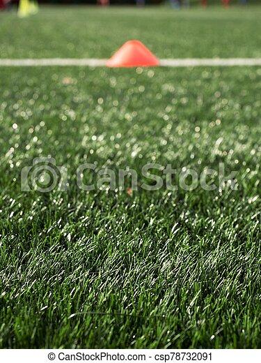 gazon, cônes, vert, équipement, formation, football, artificiel - csp78732091