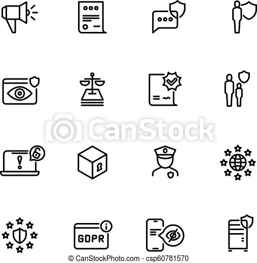Privacy Policy Clip Art >> Gdpr Line Icons Privacy Policy Digital Business Information Safety And New Internet Standards Vector Symbols