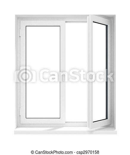 geöffnet, rahmen, freigestellt, plastik, glasfenster, neu  - csp2970158