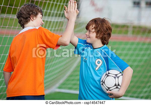 ge sig, spelaren, hög, fotboll, fem - csp14547447