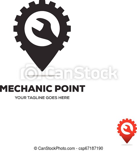 gear and wranch Map Location Navigation Logo Design - csp67187190