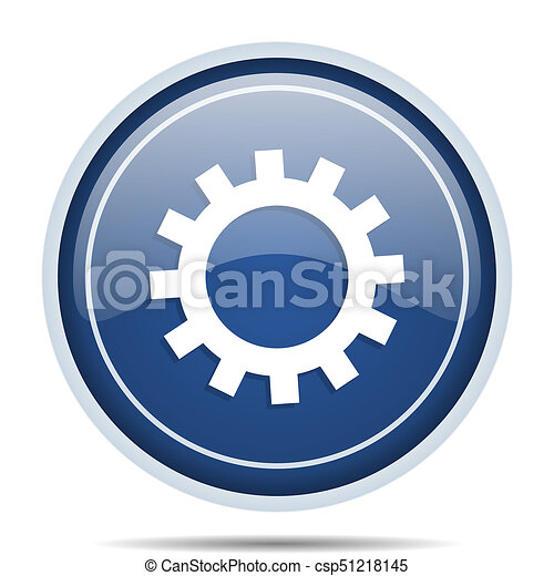 Gear blue round web icon. Circle isolated internet button for webdesign and smartphone applications. - csp51218145
