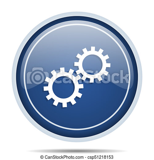 Gear blue round web icon. Circle isolated internet button for webdesign and smartphone applications. - csp51218153