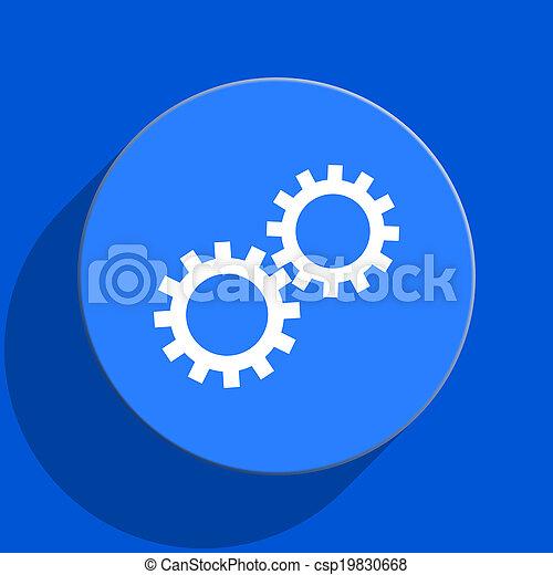gear blue web flat icon - csp19830668