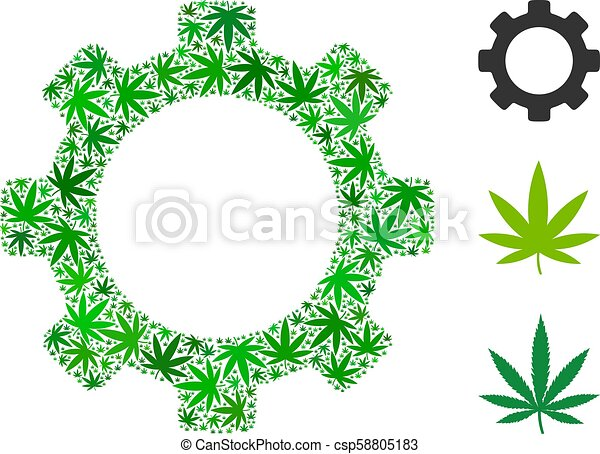 Gear Composition Of Weed Leaves Gear Mosaic Of Cannabis Leaves In