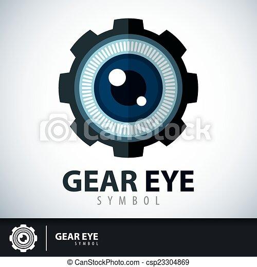 Gear eye symbol icon - csp23304869
