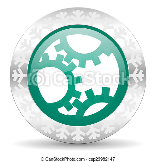 gear green icon, christmas button, settings sign - csp23982147