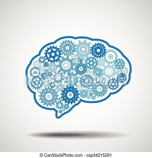 gear., hjärna, intellige., konstgjort - csp34215291