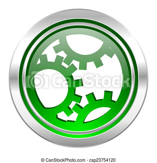 gear icon, green button, settings sign - csp23754120
