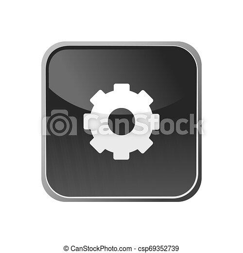 Gear icon on a square button - csp69352739