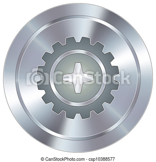 Gear icon on industrial button - csp10388577